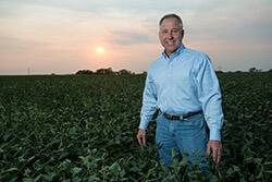 soybean farmer standing in field