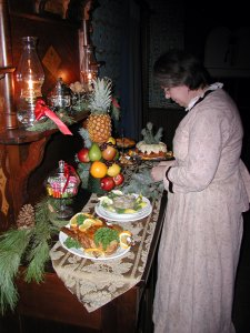 interpreter setting out holiday foods