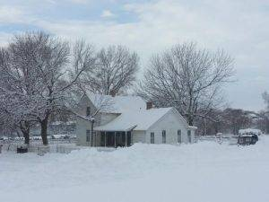 snowy 1900 farm house