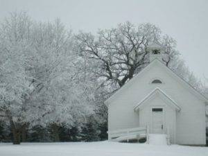 schoolhouse in winter