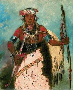 painting showing man wearing buffalo robe