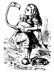 alice playing croquet with a flamingo