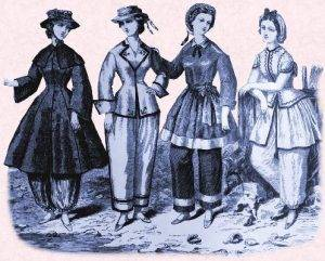 illustration of 19th century swimsuits