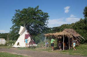 visitors at the 1700 ioway farm