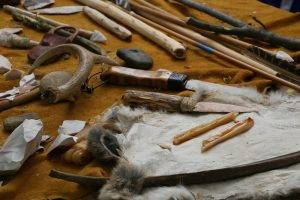 tools made from bone and wood at the Ioway farm