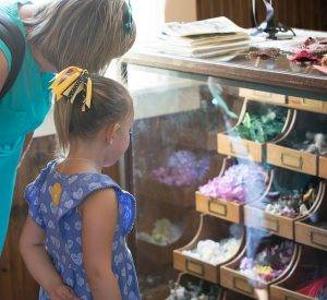 girl looks at hat trims in millinery shop