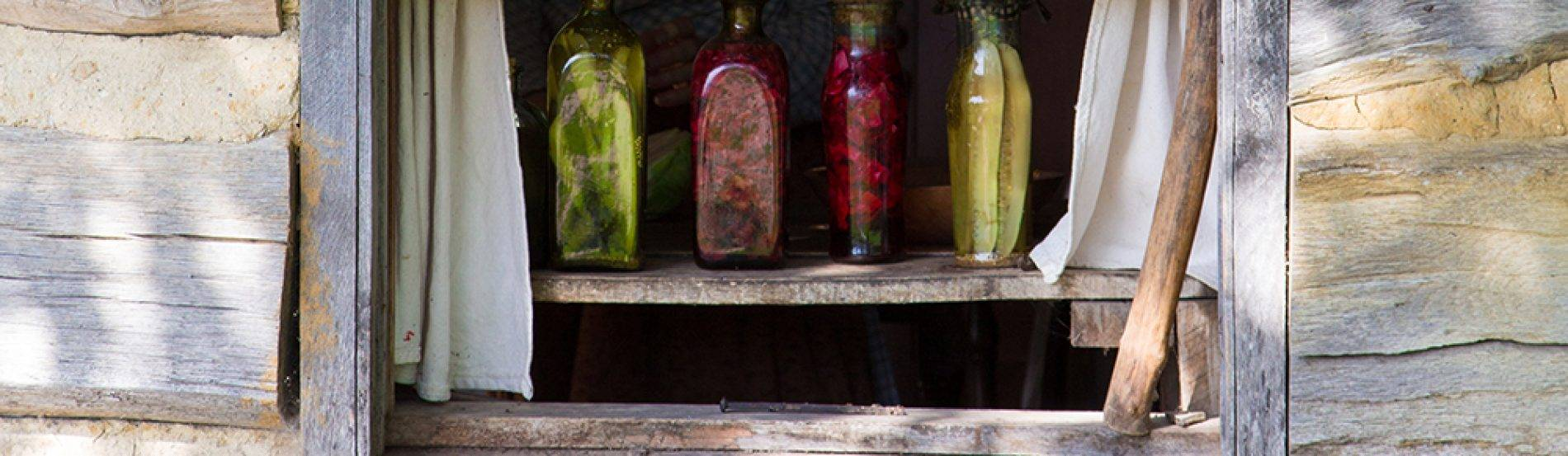 jars of preserved produce in windowsill