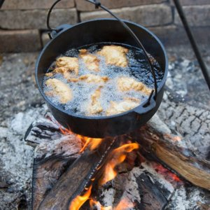 apple fritters fry over open fire