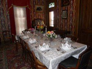 table setting in Flynn Mansion