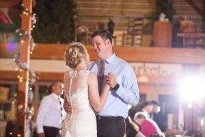couple dance at wedding in visitor center