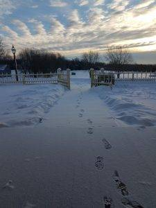 snowy footprints at Tangen Home