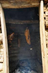 meat smoking in smokehouse