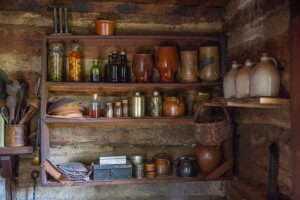 food stored on shelves at 1850 home