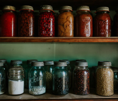 jars in 1900 farm house pantry