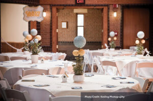 Visitor Center decorated for wedding