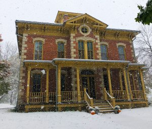 flynn mansion in the snow